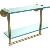Washington Square Collection 16'' Double Glass Shelf w/Towel Bar, Premium Finish, Satin Brass
