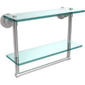 Washington Square Collection 16'' Double Glass Shelf w/Towel Bar, Premium Finish, Satin Chrome