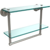 Washington Square Collection 16'' Double Glass Shelf w/Towel Bar, Premium Finish, Satin Nickel