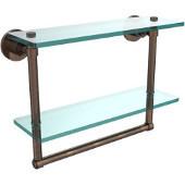 Washington Square Collection 16'' Double Glass Shelf w/Towel Bar, Premium Finish, Venetian Bronze