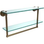 Washington Square Collection 22'' Double Glass Shelf w/Towel Bar, Premium Finish, Brushed Bronze