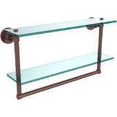 Washington Square Collection 22'' Double Glass Shelf w/Towel Bar, Premium Finish, Antique Copper