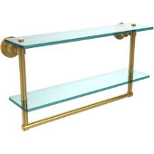 Washington Square Collection 22 Inch Two Tiered Glass Shelf with Integrated Towel Bar, Unlacquered Brass