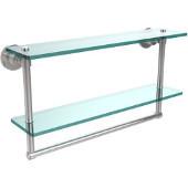 Washington Square Collection 22'' Double Glass Shelf w/Towel Bar, Standard Finish, Polished Chrome