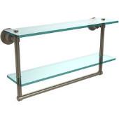 Washington Square Collection 22'' Double Glass Shelf w/Towel Bar, Premium Finish, Antique Pewter
