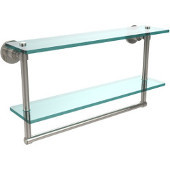 Washington Square Collection 22'' Double Glass Shelf w/Towel Bar, Premium Finish, Polished Nickel