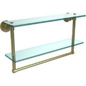 Washington Square Collection 22'' Double Glass Shelf w/Towel Bar, Premium Finish, Satin Brass