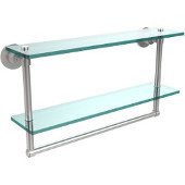 Washington Square Collection 22'' Double Glass Shelf w/Towel Bar, Premium Finish, Satin Chrome