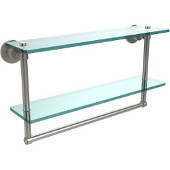Washington Square Collection 22'' Double Glass Shelf w/Towel Bar, Premium Finish, Satin Nickel