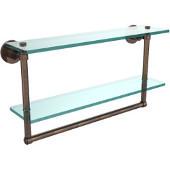 Washington Square Collection 22'' Double Glass Shelf w/Towel Bar, Premium Finish, Venetian Bronze