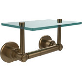 Washington Square Collection Two Post Toilet Tissue Holder with Glass Shelf, Brushed Bronze