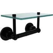 Washington Square Collection Two Post Toilet Tissue Holder with Glass Shelf, Matte Black