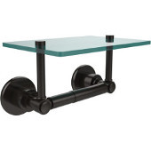 Washington Square Collection Two Post Toilet Tissue Holder with Glass Shelf, Oil Rubbed Bronze