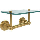 Washington Square Collection Two Post Toilet Tissue Holder with Glass Shelf, Polished Brass