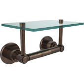 Washington Square Collection Two Post Toilet Tissue Holder with Glass Shelf, Venetian Bronze