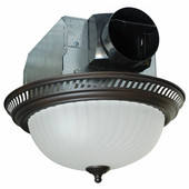 70 CFM Decorative Round Exhaust Fan with Light, Oil Rubbed Bronze