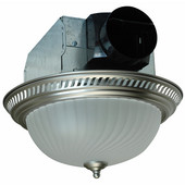 70 CFM Decorative Round Exhaust Fan with Light, Nickel