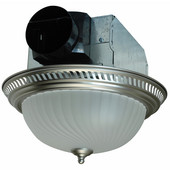 70 CFM decorative round exhaust fan in nickel finish, with light