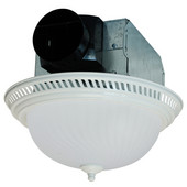 70 CFM white decorative round exhaust fan, with light