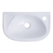 Small White Wall Mounted Porcelain Bathroom Sink Basin, 16-1/4'' W x 10-1/8'' D x 5-1/2'' H