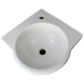 White 15'' Corner Wall Mounted Porcelain Round Bowl Bathroom Sink, 15-1/4'' W x 15-1/4'' D x 6-1/4'' H