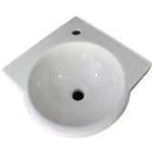 White 15'' Corner Wall Mounted Porcelain Round Bowl Bathroom Sink, 15-1/4'' W x 15-1/4'' D x 6-1/4'' H