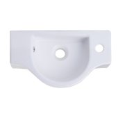 Small White Wall Mounted Ceramic Bathroom Sink Basin, 17-3/4'' W x 10'' D x 4-7/8'' H