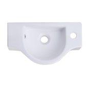 Small White Wall Mounted Ceramic Bathroom Sink Basin, 17-3/4'' W x 10'' D x 4-7/8'' H