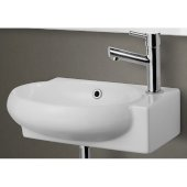 Small White Wall Mounted Ceramic Bathroom Sink Basin, 17'' W x 10-3/4'' D x 4-7/8'' H