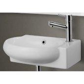Small White Wall Mounted Ceramic Bathroom Sink Basin, 17'' W x 10-3/4'' D x 4-7/8'' H