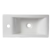 Small White Modern Rectangular Wall Mounted Ceramic Bathroom Sink Basin, 19-1/4'' W x 9-1/2'' D x 5-1/4'' H