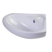 18'' White Corner Porcelain Wall Mounted Bath Sink, 18-1/2'' W x 15-3/4'' D x 7-1/8'' H