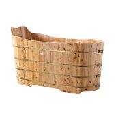 ALFI brand 59'' Free Standing Cedar Wood Bathtub with Bench in Natural Wood, 59'' W x 25-5/8'' D x 26-3/4'' H