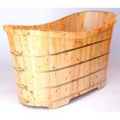 63'' Free Standing Cedar Wooden Bathtub, 63'' W x 28-3/8'' D x 34-1/4'' H