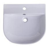 20'' White D-Bowl Porcelain Wall Mounted Bath Sink, 19-3/4'' W x 18-7/8'' D x 5-1/2'' H