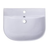 24'' White D-Bowl Porcelain Wall Mounted Bath Sink, 23-5/8'' W x 18-7/8'' D x 5-1/2'' H