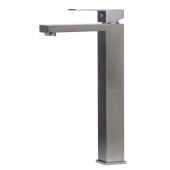 Brushed Nickel Tall Square Single Lever Bathroom Faucet, Height: 12-5/8'' H, Spout Height: 10-1/2'' H, Spout Reach: 5-1/4'' D