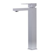 Polished Chrome Tall Square Single Lever Bathroom Faucet, Height: 12-5/8'' H, Spout Height: 10-1/2'' H, Spout Reach: 5-1/4'' D