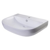 28'' White D-Bowl Porcelain Wall Mounted Bath Sink, 27-1/2'' W x 18-7/8'' D x 5-1/2'' H