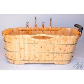 61'' Free Standing Cedar Wooden Bathtub with Chrome Tub Filler, 61'' W x 28-3/8'' D x 23-5/8'' H