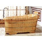 61'' Free Standing Cedar Wooden Bathtub  with Fixtures & Headrest, 61'' W x 29-1/2'' D x 23-5/8'' H