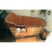 59'' Free Standing Wooden Bathtub with Chrome Tub Filler, 59'' W x 26-3/4'' D x 23-5/8'' H