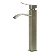Tall Brushed Nickel Tall Square Body Curved Spout Single Lever Bathroom Faucet, Height: 13-1/4'' H, Spout Height: 9-1/4'' H, Spout Reach: 5-3/8'' D