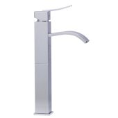 Tall Polished Chrome Tall Square Body Curved Spout Single Lever Bathroom Faucet, Height: 13-1/4'' H, Spout Height: 9-1/4'' H, Spout Reach: 5-3/8'' D