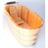 61'' Free Standing Wooden Bathtub with Cushion Headrest, 61'' W x 28-3/8'' D x 24-3/8'' H