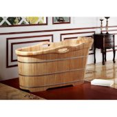 57'' Free Standing Rubber Wooden Soaking Bathtub with Headrest, 57'' W x 26-3/4'' D x 25-1/2'' H