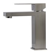 Brushed Nickel Square Single Lever Bathroom Faucet, Height: 6-3/4'' H, Spout Height: 4-3/4'' H, Spout Reach: 4-1/2'' D