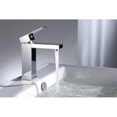 Polished Chrome Square Single Lever Bathroom Faucet, Height: 6-3/4'' H, Spout Height: 4-3/4'' H, Spout Reach: 4-1/2'' D