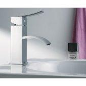 Polished Chrome Square Body Curved Spout Single Lever Bathroom Faucet, Height: 7'' H, Spout Height: 2-5/8'' H, Spout Reach: 4-1/8'' D