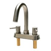 ALFI brand Two-Handle 4'' Centerset Bathroom Faucet in Brushed Nickel, Faucet Height: 7-7/8'' H, Spout Reach: 4-3/8'' D, Spout Height: 4-5/8'' H